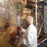 MuMe, Ernesto Geraci al lavoro su opera di Alibrandi (ph. Lacava)