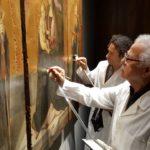 MuMe, Ernesto Geraci al lavoro, sul Polittico di Antonello (ph. Lacava)